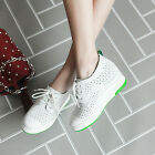 Leisure Womens Fashion Lace up Breathable Hollow out Hidden heel School Shoes Sz