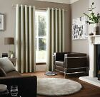 WOVEN CHECK CREAM GREEN LINED RING TOP CURTAINS 9 SIZES