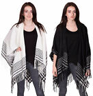 Womens Ladies Tassel Poncho Cape Aztec Tribal Print Shawl Pullover Cardigan