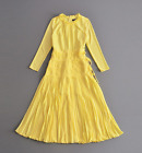 K2017 occident yellow long sleeves fashion party popular lady long dress