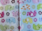 SALE 100% cotton fabric pnk blue elephants and pink lilac cupcakes free postage
