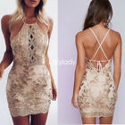 Women embroidery solid halter sleeveless slim bodycon party evening sexy dress