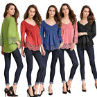 Womens Lady Lace Long Sleeve T-Shirt Tops Casual Blouses Clothes Party Plus Size