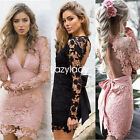 Sexy backless women Lace sheer chic V-neck bowknot slim bodycon causal New dress