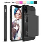 For iPhone XS MAX 8 7 6S Shockproof Hybrid Slim Card Wallet Hard Back Case Cover