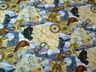 WARBIRDS MONTAGE - VINTAGE FLYING MAPS PLANES ON SKY - 100% cotton fabric