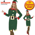 CA124 Ladies Christmas Elf Costume Santa Helper Xmas Fancy Dress Up Party Outfit
