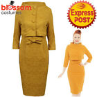 RKB58 Lindy Bop Maybelle Mustard Wiggle Dress Jacket Vintage Rockabilly Brocade
