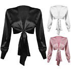 New Satin Multi Tie Wrap Long Sleeve Button Cuff Bow Blouse Shirt Party Crop Top