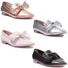 Justin Reece Womens Ladies Big Bow Loafer Slip on Shoes Size UK 3 - 8