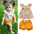 Floral Infant Toddler Kids Baby Girls Casual T-shirt Tops+Shorts 2pcs Outfits
