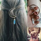 Retro Boho Alloy Moon Hair Clip Natural Stone Pendant Hair Comb Hairpin Clip