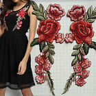 1Pair Embroidered Rose Flower Sew On Patches Badge Bag Fabric Clothes Craft DIY