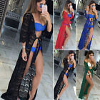 Women Summer Beach Lace Long Sleeve Casual Hollow Out Solid Color Cover-up Tops