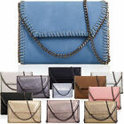 Metallic Chain Trim Strap Women Clutch Synthetic Prom Party Ladies Evening Bags