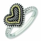 Heart with 14K Gold Accent Antiqued Sterling Silver Stackable Ring
