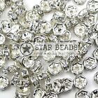 GLASS RHINESTONE SILVER PLATED CLEAR SPACER BEAD - STRAIGHT STYLE