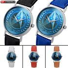 Star Trek Badge Dial Quartz Wrist Sport Watch Analog Unisex Leather Strap Gift