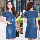 Womens Short Sleeve Denim/Jeans Loose Short Dress Casual V-neck Dresses Clothes