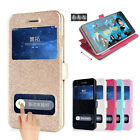 Flip Wallet With Kickstand double Window PU leather phone case For Samsung