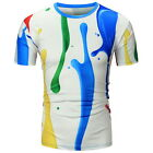 Fashion Men's Casual Creative Painting 3D Printing Men's Short Sleeves T-shirt