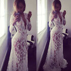 Plus Size Women Lace Floral Boho Long Maxi Dress Formal Party Wedding Ball Gown