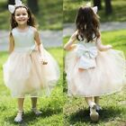 Ball Gown Halter Knee-length Satin Chiffon Flower Girl Party Dress With Bows New