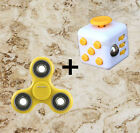 Fidget cube+Fidget Hand Spinner Focus Steel EDC Bearing Stress Toys Black Yellow