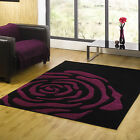 Modern Small Large Rose Design Monte Carlo Rug 14mm Thick Black Purple Quality