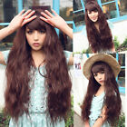 womens curly wave corn style full long hair wig cosplay costume nature brown wig