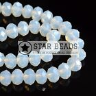FACETED RONDELLE CRYSTAL GLASS BEADS WHITE OPAL 4MM,6MM,8MM,10MM