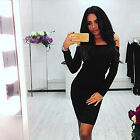CA Womens Ladies Sexy Off Shoulder Hip Slim Pencil Cocktail Party Sweater Dress