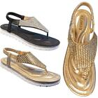 New Womens Ladies Embellished Diamante Fashion Party Toe Post Flat Sandals Shoes