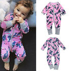 Newborn Infant Kids Baby Girsl Print Romper Zipper Long Sleeves Jumpsuit Outfits