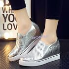 Women's Breathable Wedge Slippers Laofers Hollow Casual Slip On Platform Shoes