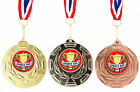 Silver Gold or Bronze School Sports Day Medal on Ribbon, Wreath Design