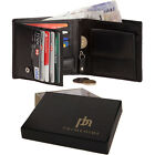 Mens Designer Leather Wallet With Coin Purse Credit Card Holder Gift Boxed