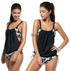New Women Plus Strap Print Swimsuit Bikini Sets Swimwear Beach Vacation TXCL01