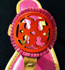 LAST 1 New Tory Burch MILLER Fringe Thong Sandals 7 Dusty Cypress Hibiscus Pink