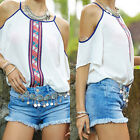 Fashion Womens Chiffon Tops Tank Short Sleeve T-Shirt Casual Blouse Vest White