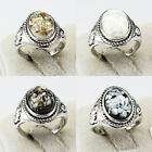 Shells Amber Gemstone New Unique Jewelry Silver Plated Men Women Rings Size 6-10