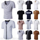 Men's Slim Fit V-neck/crew neck T-shirt Short Sleeve Muscle Tee Size M L XL XXL