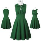 Dark Green 50s Sleeveless Bowknot High Stretcy A- Line Party Picnic Short Dress
