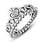 Princess Queen Crown Silver Plated Ring Design Wedding Crystal For Women Hot ATA