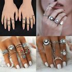 5/11/14pcs Retro Gold/Silver Boho Gem Finger Punk Knuckle Ring Women Jewelry New