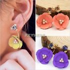New Women Fashion Elegant Flower Crystal Rhinestone Ear Stud Earrings K0E1