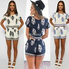 Vintage Style Women Casual Print O-Neck Short Sleeve Crop Tops Elastic K0E1