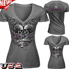Fashion Women's Short Sleeves Skull Shirt V-neck Punk Tops Cotton T-shirt Blouse