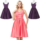 Sexy Women's Short Dress Sleeveless V-Neck Satin FROMAL Evening Prom Party Gown