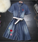2017 occident short sleeves cowboy glam chic exquisite kawaii embroidery dress